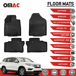 Honda Pilot Floor Mats Liner 3d Molded Fit Black Interior Protector 2016 2019