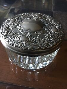 Antique Vintage Silver Plated Trinket Jewelry Box Crystal Bottom Mirrored Lid