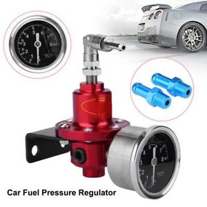 Universal Red Metal Adjustable Car Auto Fuel Pressure Regulator With Oil Gauge
