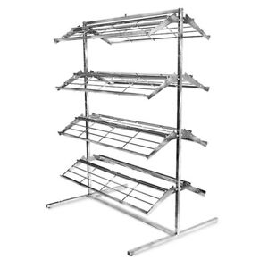 66 Shoe Rack Retail Footwear Display Fixture 8 Shelves Double Side Adjustable