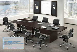 12 Foot Boat Shaped Expandable Conference Table With Grommets And 10 Chairs Set