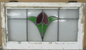 Mid Size Old English Leaded Stained Glass Window Gorgeous Floral 26 X 15