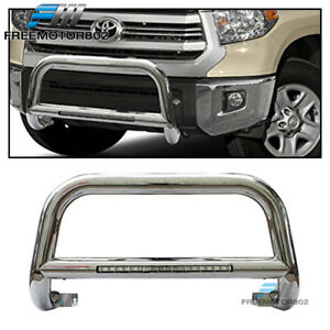 Fits 05 15 Toyota Tacoma Bull Bar T304 Stainless Steel Led Silver 3 Inch