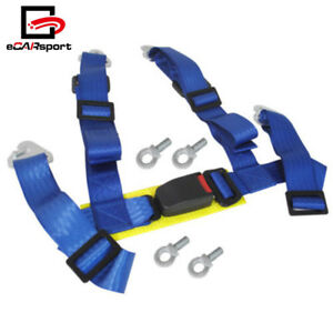Universal 4 Point 2 Inch Racing Seat Belt With Quick Snap Eye Bolts Blue