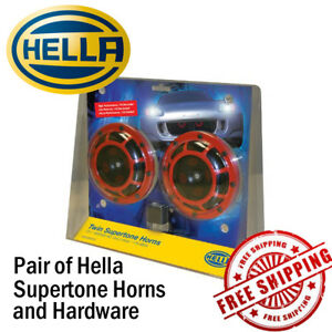 Hella Supertone Red Horn Kit 12v High Tone Low Tone Twin 118db Loud Authentic