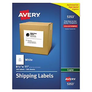 Copier Full sheet Labels 8 1 2 X 11 White 100 box 5353 1 Each