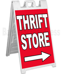 Thrift Store Sidewalk Sign A frame Signicade Banner Pavement Sign Board Stand