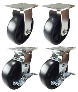 4 Heavy Duty Caster Set 4 6 8 Plastic Wheels Rigid Swivel And Brake