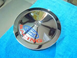 14 x3 Chrome Air Cleaner With ford Racing On Top mustang fairlane torino Etc