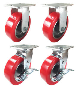 4 Heavy Duty Caster Set 6 8 Polyurethane On Aluminum Wheels Rigid Swivel Brake