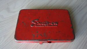 Vintage Snap On Socket Wrenches Box Tin Metal Case 3 Compartments
