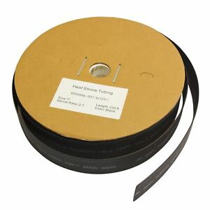 100 Ft 100 feet Black 1 Inch 1 Polyolefin 2 1 Heat Shrink Tubing Tube Cable