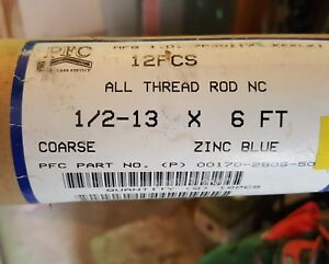12 Threaded Rod 1 2 13 X 72 Zinc Blue All Thread Nc 1 2 X 6 Ft