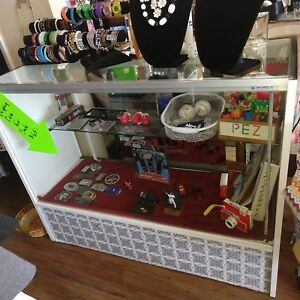 Vintage Wood Glass Store Jewelry Merchandise Display Case