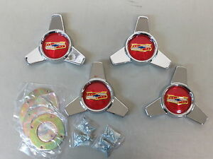 1958 Chevy Impala Belair Tri Bar Accessory Hubcaps Spinners Center Wheel Covers