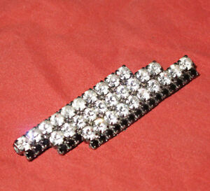 Vintage Art Deco Rhinestone Rows Brooch Hat Or Dress Pin