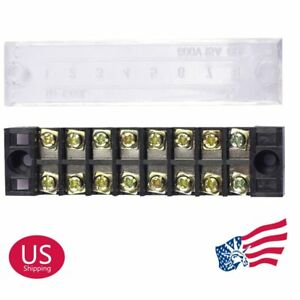Us Stock 50 Pcs 8 Position 15a Dual Row Screw Terminal Block Strip Connector