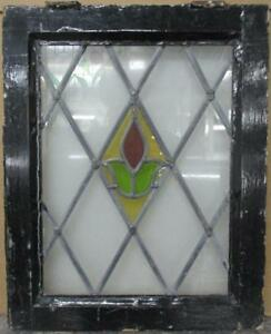 Old English Leaded Stained Glass Window Nice Diamond Leaded Floral 17 X 21 25