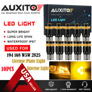 10x Auxito Amber Yellow 168 194 921 912 W5w License Side Marker Light Led Bulb A