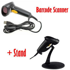 Portable Usb Laser Gun Bar Code Label Scanner With Stand Holder Handheld Scan