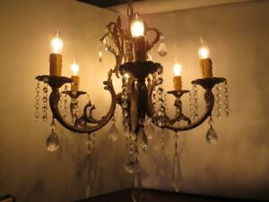 Vintage Brass Crystal Prism Chandelier 6 Arm Light Hanging Bird Cage