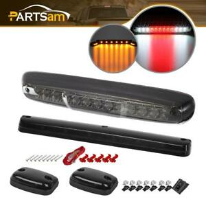 For 07 13 Chevy Gmc Led Smoke Lens 3rd Brake Cargo Light W 3pcs Cab Marker Lamps