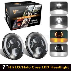 For Ford 7inch Led Sealed Beam Headlight Halo Drl Amber Turn Signal Lamp 2pcs