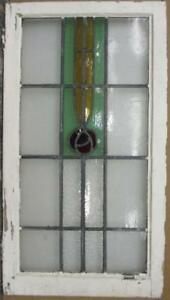 Large Old English Leaded Stained Glass Window Gorgeous Floral Drop 20 X 36 5