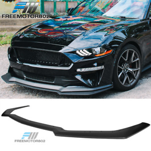 Fits 18 19 Ford Mustang Gt Style Add On Front Bumper Splitter Lip Black Pp