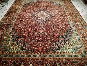 Antique Tabreez Persian Silk Pile Late19th Century Handmade Area Rug 9x12 Red