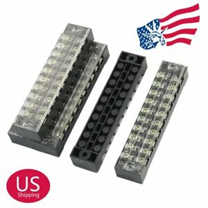 Us Stock 50pcs 10 Position 15a Dual Row Screw Terminal Block Strip Connector