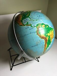 Nystrom 12 Inch Simplified Pictorial Relief Globe Dual Axis Vintage Ussr