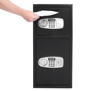 30 5 Large Double Digital Iron Safe Box Keypad Lock Home Office Hotel Gun Cash