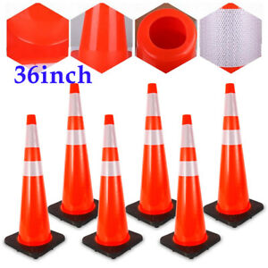 6pcs 36 Inch Traffic Cone Fluorescent Red Reflective Road Safety Cones Barriers
