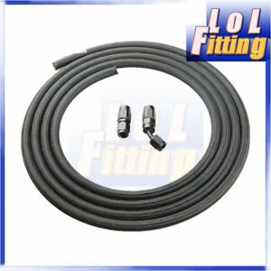 10an An10 Nylon Cover Braided Fuel Line Oil Hose 3meter Hose End Black