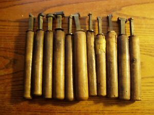 11 antique Bronze Or Brass Bookbinding Gilding Leather Tool Stamps