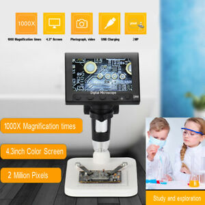 4 3 Lcd 1000x Desktop Led Digital Microscope Compound 2mp Camera 720p W Stand