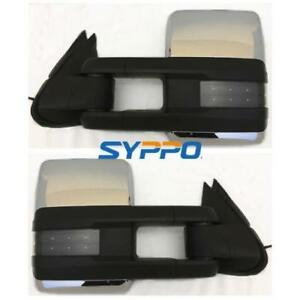 Manual Chrome For 99 06 Silverado Sierra Towing Mirrors Smoked Led Signal Lamps