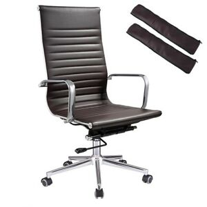 High Back Ribbed Pu Leather Office Chair Executive Computer Desk Modern Brown