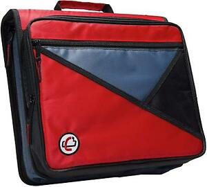 Case it Universal 2 inch 3 ring Zipper Binder Holds 13 Inch Laptop Red Lt 007