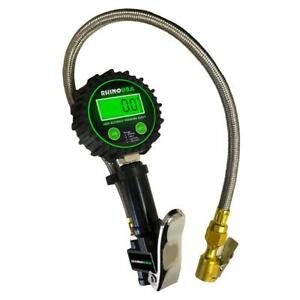 Rhino Usa Heavy Duty Tire Inflator Gauge 0 200 Psi Certified Ansi B40 1 Accu