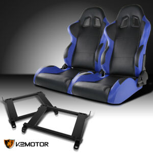 For 1996 2000 Honda Civic 2 3 4dr Black blue Pvc Leather Racing Seats brackets