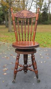 Vintage Wood Victorian Style Piano Stool Chair Back Bench Claw Glass Ball Feet