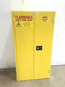 Jamco Bm44 Manual Closing Yellow Steel Safety Flammable Cabinet 44 Gallon Cap