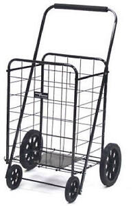 Narita Trading Black Super Shopping Cart 4 wheel Folding Shopping Cart Ntc002bk