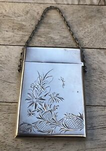 Antique Etched English Sterling Silver Calling Card Business Card Case Purse