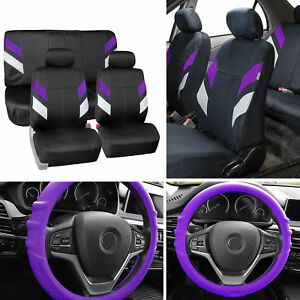 Neoprene Car Seat Covers For Auto Car Purple W Grip Silicone Steering Cover