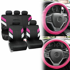 Neoprene Car Seat Covers For 5 Headrests Pink W Grip Silicone Steering Cover