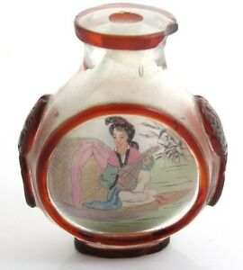 Vintage Japanese Reverse Paint Hand Craft Red Frosted Glass Snuff Bottle Y397