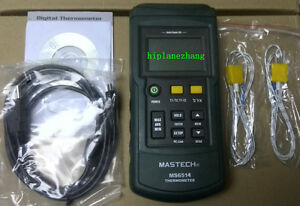 Digital Thermometer Dual channel Input Thermocouple K J T E R S N Ms6514 Usb